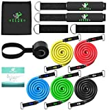 Deedro Resistance Bands Set 12pcs Exercise Bands with Door Anchor Attachment, Handles, Legs Ankle Straps for Resistance Training Physical Therapy Workouts