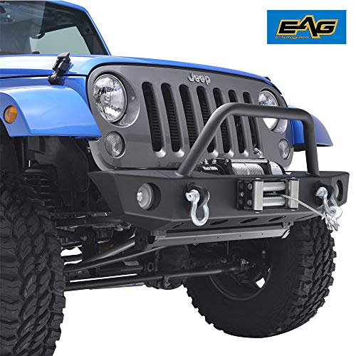 (EAG Front Bumper with Winch Plate OE Fog Light Hole for 07-18 Jeep Wrangler)