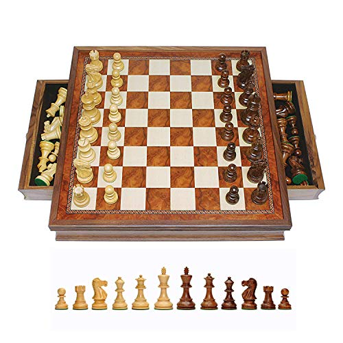 WE Games Grand Hand Carved English Chess Set w/ Drawers, Tournament Size Camphor Wood - 19 in. (Hand Carved Wood Chess Set)