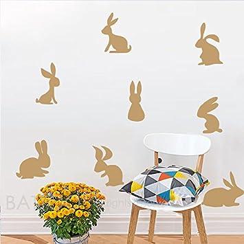 Amazon.com: BATTOO 8 Bunnies Wall Decal- Rabbit Set Wall Decal ...