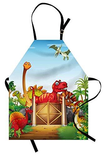 Kids Bib Aprons - Ambesonne Kids Apron, Cartoon Style Cute Dinosaurs in a Dino Park Jungle Trees Wildlife Habitat Illustration, Unisex Kitchen Bib Apron with Adjustable Neck for Cooking Baking Gardening, Multicolor