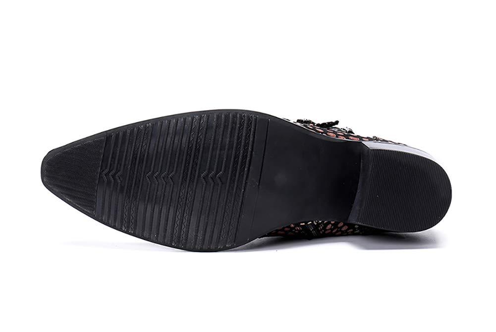 Mens bottes en cuir pointu metal toe crocodile noir mode snakeskin