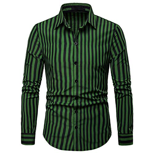 (Sunmoot Striped Tops for Men Button Down Shirts Long Sleeve Casual Top Blouse Green)