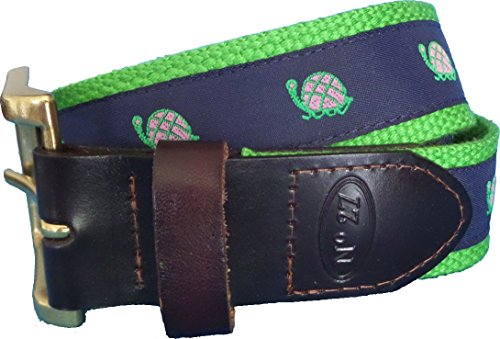- No27 Mens Turtle Leather Belt, Leather Tab and Buckle, Pink Turtle on Navy Ribbon Nautical Leather Belt