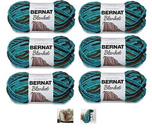 (Bernat Blanket Yarn - 6 Pack Bundle with 3 Patterns - Mallard Wood)