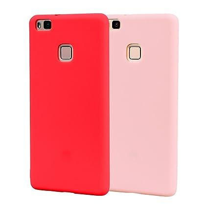 Funda HuaWei P9 Lite, Carcasa HuaWei P9 Lite Silicona Gel, OUJD Mate Case Ultra Delgado TPU Goma Flexible Cover para HuaWei P9 Lite - Rojo + rosa