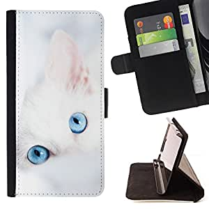 DEVIL CASE - FOR Samsung Galaxy S5 V SM-G900 - Cute White Kitten Winter Clean Baby Blue - Style PU Leather Case Wallet Flip Stand Flap Closure Cover