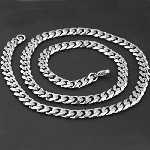 5//8//10mm Mens Stainless Steel Cuban Curb Chain Link Necklace Bracelet,7-40