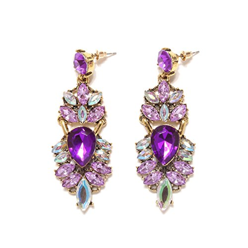 Purple Earrings Chandelier (Holylove Dangle Earrings Purple Chandelier Shape for Women Novelty Jewelry 1 Pair with Gift Box- HLE0014 Purple)