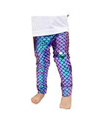 Baby Girls Clothes Mermaid Fish Scale Stretch Leggings Pants