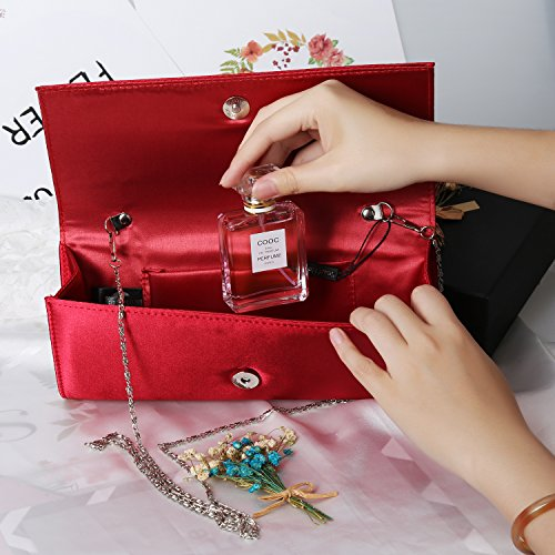 Silk Envelope Hook Handbags Magnet Maroon Women Clutch Fabrics Evening Purse Evening Bag PU 4fxBTAx