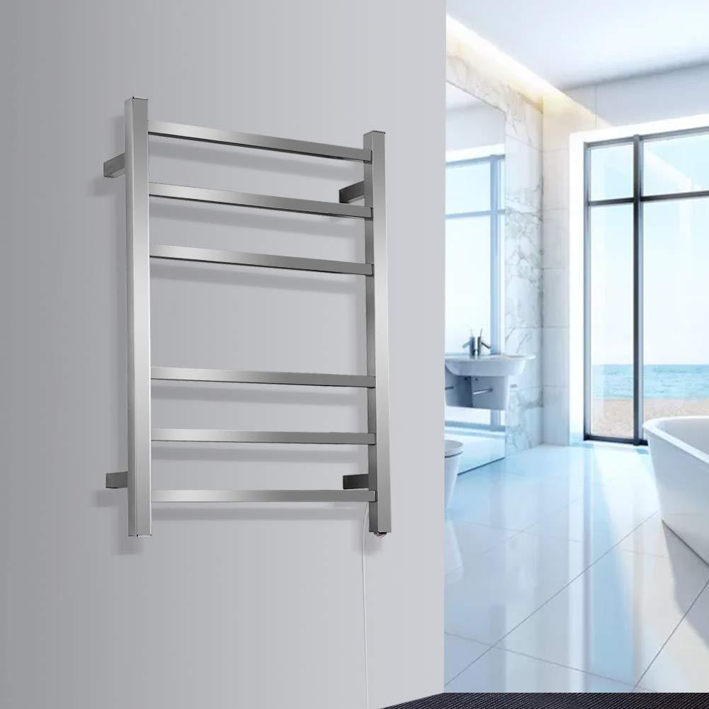 SHARNDY Electric Towel Warmers 3+3 Square Bars ETW13C Brush Nickel Towel Racks Bathroom 68W UL Listed by SHARNDY (Image #5)