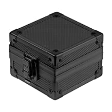 INFANTRY Watch Jewelry Storage Display Gift Box Aluminum Case with Velvet Pillow, 3x3x2.5inch, Black