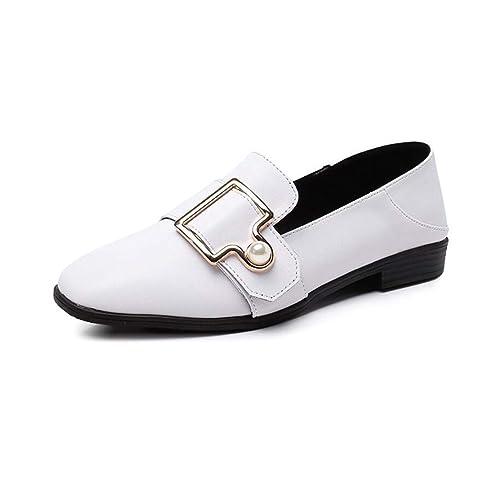 Mocasines para Mujer otoño Perezoso Estilo británico Zapatos de tacón Plano Estudiante Zapatos de Gran tamaño: Amazon.es: Zapatos y complementos