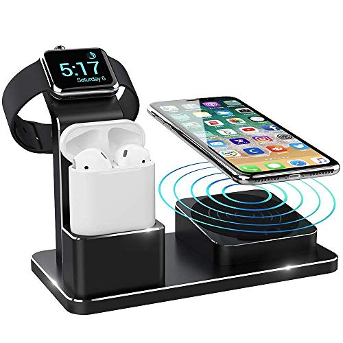 3 in 1 Wireless Charging Station QF055D by iPM| Wireless Charging Dock | Apple Watch Charger | iPhone and Airpods Wireless Charger | Premium Quality Finish | Compact | Portable | Multiple Charging