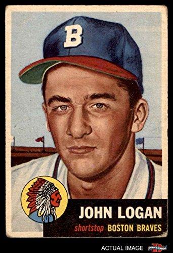1953 Topps # 158 Johnny Logan Boston / Milwaukee Braves (Baseball Card) Dean's Cards 3 - VG - Boston Shops Logan