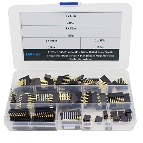 Didamx 120Pcs 2.54MM 6Pin 8Pin 10Pin 10MM Long Needle Female Pin /Double Row 3-Pins Header Strip Stackable Header for arduino