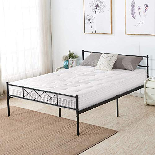 (ANYA Metal Steel Slat Platform Bed Frame,Easy-Assembly with Under-Bed Storage W Headboard Twin Full Queen Size (Twin))