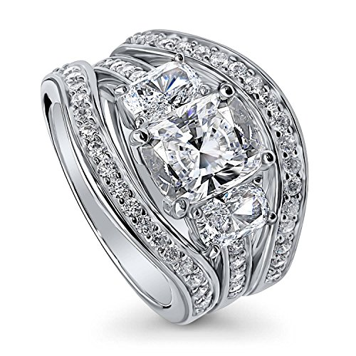 BERRICLE Rhodium Plated Sterling Silver Cubic Zirconia CZ 3-Stone Engagement Ring Set Size 7 by BERRICLE