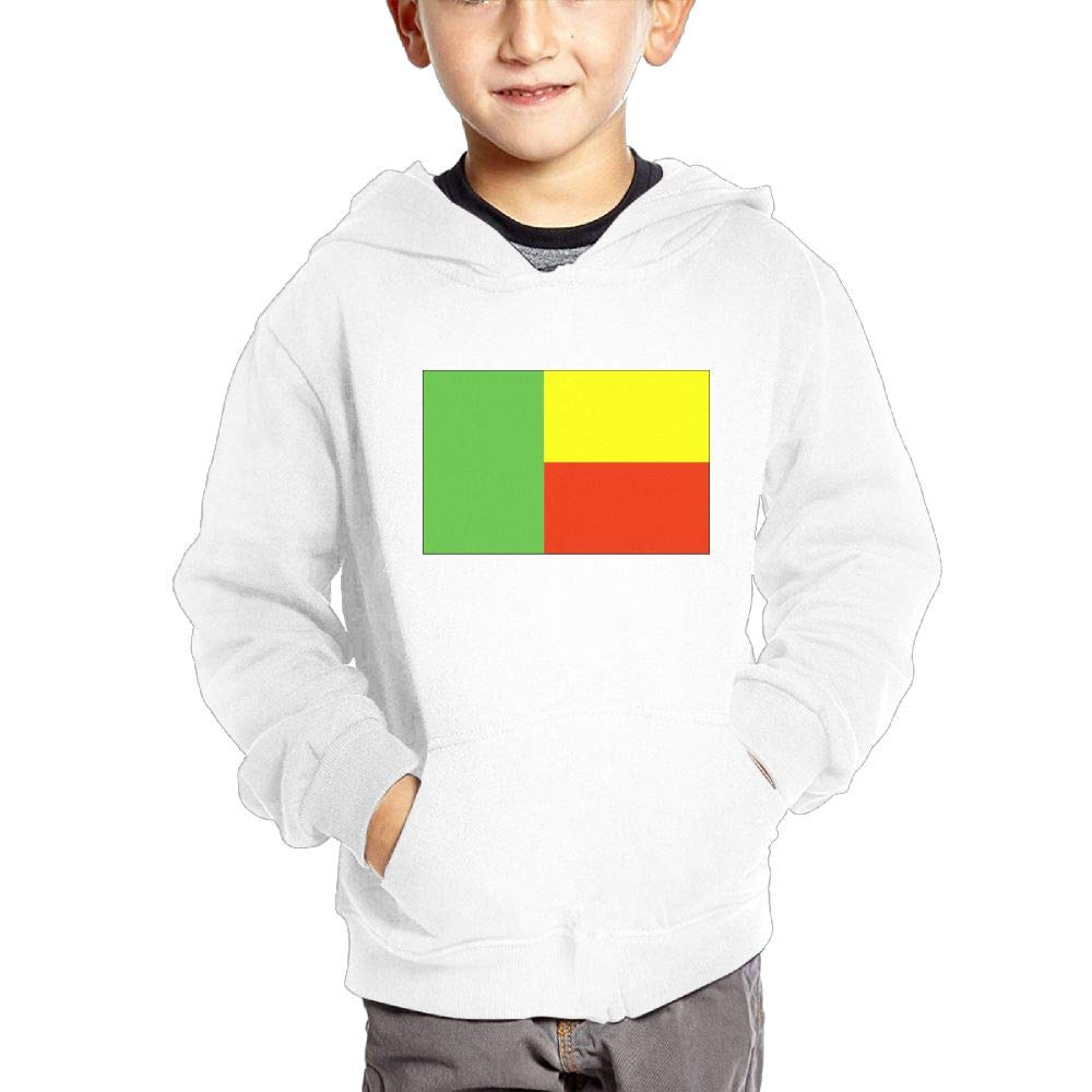 JIANGSHAN Benin Flag Breathable Hooded Pocket Sweater for Children Spring//Autumn//Winter Outfit Long-Sleeved Hoodie