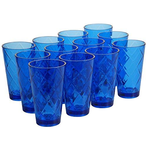 Certified International Cobalt Blue 20 oz Acrylic Ice Tea Drinkware (Set of 12), Cobalt - Colbalt Blue Glasses