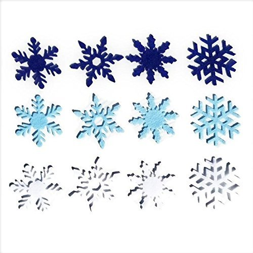 3 inch Felt Snowflakes 48 pkg Blue & White by Wildflower Toys
