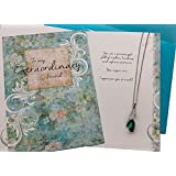 Smiling Wisdom - Extraordinary Friend Green Necklace Gift Set - Cute Appreciation Greeting Card - Her, Friend, Woman - Precious Special True Best Friend Who is Patient, Kind - Emerald Green