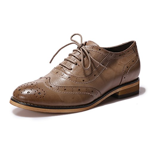 Mona Flying Womens Leather Flat Oxfords Shoes For Women Perforated Lace-up Wingtip Vintage Brogues Shoes,6 B(M) US,Coffee (Shoes Lace Perforated Up Leather)