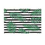 NYMB Plant Bath Rugs, Black And White Striped With Green Leaf, Non-Slip Doormat Floor Entryways Indoor Front Door Mat, Kids Bath Mat, 15.7x23.6in, Bathroom Accessories