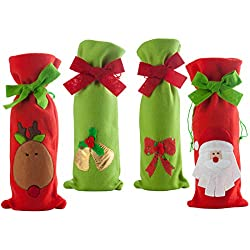 4Pcs Christmas Wine Bottle Cover Bags, Santa Claus Red Wine Bags Christmas Wine Bottle Gift Bags with Drawstring for Home Dinner Party Hotel Kitchen Table Decoration