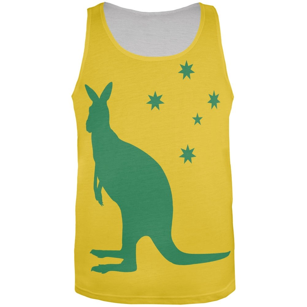 World Cup Australia Yellow Sporting Kangaroo All Over Adult Tank Top