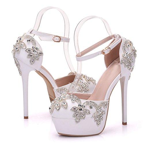 white Plateau 35 14cm Donna Bianco Minitoo ankle Con Heel Eu Strap xB5fqw1Yn