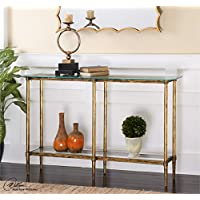 Ambient Bright Gold Leafed, Forged And Cast Iron Framework With Clear, Tempered Glass Top Console Tables