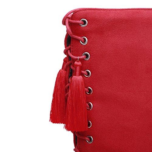 YE Damen Kniehohe Stiefel Stiletto High Heels mit Schnürung und 9cm Absatz Elegant Schuhe Rot