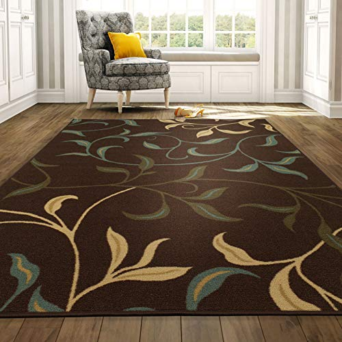 "Ottomanson Contemporary Leaves Design Modern Area Rug, 5'0"" W x 6'6"" L, Choclate"