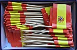 Spanish Flag Toothpick (Box of 100 Toothpicks) Spain Flags - Banderas de España - Food Picks for Parties, Cocktails, Tapas - Wood Toothpick and Paper Flag