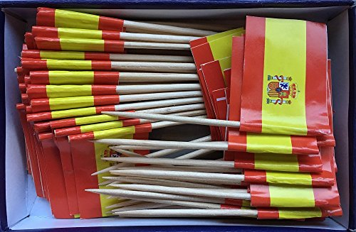 Spanish Flag Toothpick (Box of 100 Toothpicks) Spain Flags - Banderas de España - Food Picks for Parties, Cocktails, Tapas - Wood Toothpick and Paper Flag by Amazing Things