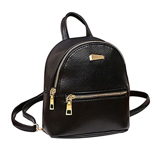 Donalworld Girl Floral School Bag Travel Cute PU Leather Mini Backpack S Black3