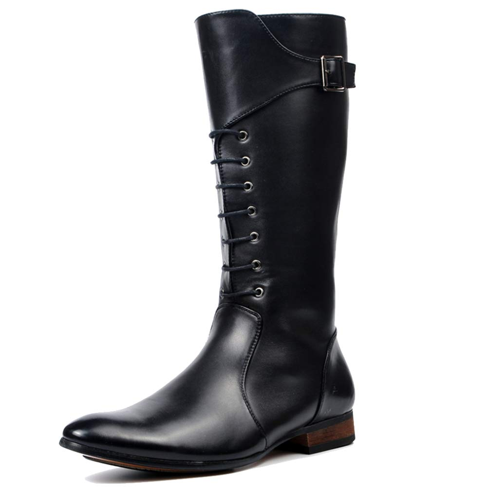 88ee548f0d252 Amazon.com: SHANHEYY Mens Leather Combat Boots Pointed Toe Mid Calf ...