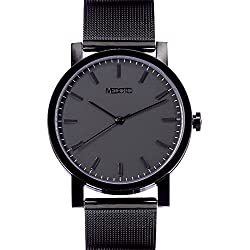 MEDOTA Stainless Steel Waterproof Watch Umbra Series Swiss Watch Quartz Mens Watch - No. 21202 (Black)