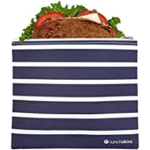 Lunchskins Reusable Zippered Sandwich Bag, Navy Stripe