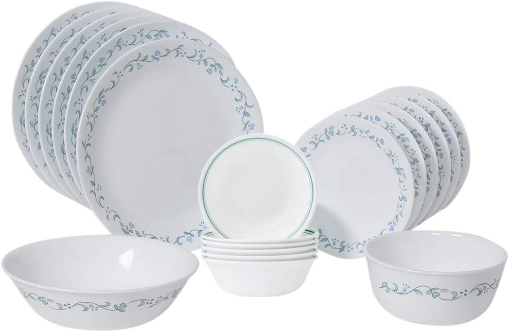 Corelle Country Cottage Dinnerware Set With Lids 20 Piece White Kitchen Dining