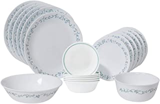 product image for Corelle Country Cottage Dinnerware Set with Lids (20-Piece, White)