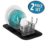 mDesign Kitchen Accessory Set, Compact Dish Drainer, Mini Dish...