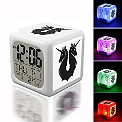 Wake Up Alarm Thermometer Night Glowing Cube 7 Colors Clock LED for Bedroom&Table,School Desk Customize 268. vector graphic_ Crest, Flag, Swiss, Unicorn - 145516