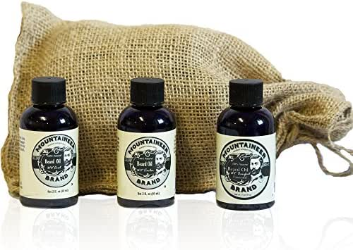 Beard Oil by Mountaineer Brand Variety Pack(3 2oz Bottles) | WV Timber, WV Coal & WV Barefoot (Unscented) | Premium 100% Natural Beard Conditioner