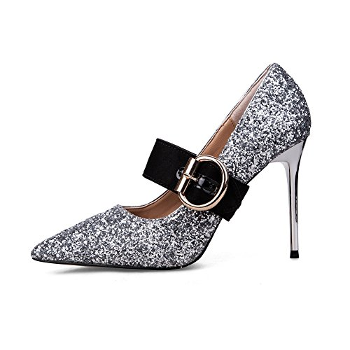 hot sale AdeeSu Womens Buckle Pointed-Toe Spikes Stilettos Sequin Pumps Shoes
