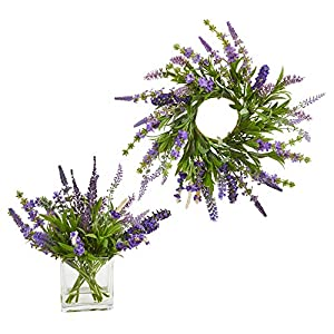 "Nearly Natural 4328-S2 12 Arrangement and 14"" Lavender Wreath (Set of 2) Silk Plants, Purple 57"