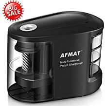AFMAT Electric Pencil Sharpener Battery Operated, Portable USB Colored Pencil Sharpener With Cord, Durable Helical Blades, Multifunctional Design with 3 Organizers for Artist, No.2 And Drawing Pencils