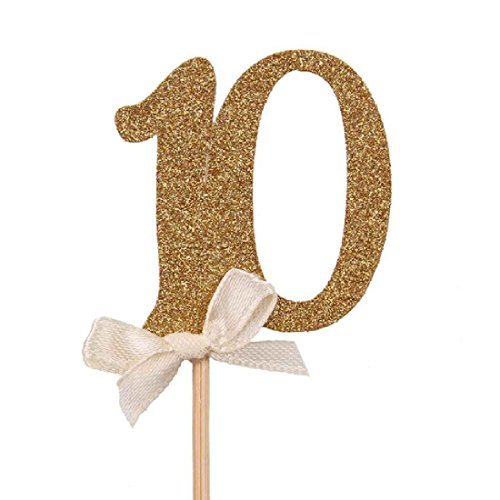 10 Pieces Gold Glitter Numbers Cupcake Topper Kit (Halloween Popcorn Balls Desserts)